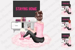 STAY HOME CLIPART - Fashion Girl Planner Graphics Product Image 4
