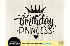 Birthday Princess SVG, Girl Birthday SVG, Crown SVG Product Image 1