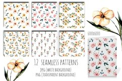 Pink watercolor flowers 12 Patterns Product Image 3
