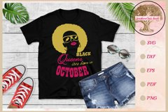 Black queens are born in October birthday t shirt design Product Image 1