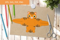 Cute Tiger Gift Box Template SVG, Gift Box SVG Product Image 1