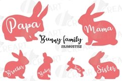 Bunny family silhouettes, pink and blush rabbit Easter decor Product Image 6