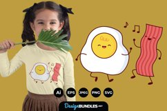 Cute Happy Fried Egg and Bacon Clipart for T-Shirt Design Product Image 1
