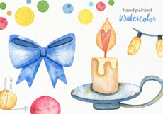 Watercolor Christmas Bulls Clipart - PNG Files Product Image 3