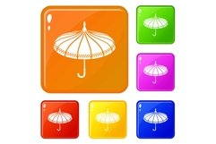 Umbrella icons set vector color Product Image 1