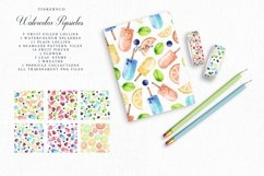 Summer Watercolor Popsicle Graphics Set and Patterns Product Image 3