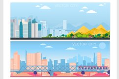 Set of vector poster with modern city Product Image 1
