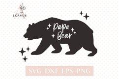 Papa bear svg, Fathers day svg, Bear family svg, Modern svg Product Image 1