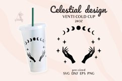 Venti Cold Cup svg, Celestial svg, Zodiac svg, Witch hands Product Image 1