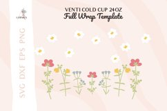 Floral svg, Venti cold cup svg 24 oz, full wrap template svg Product Image 2