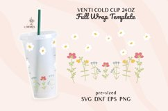 Floral svg, Venti cold cup svg 24 oz, full wrap template svg Product Image 1