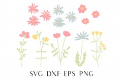 Wildflower svg, Daisy svg, Kawaii svg, Simple flower clipart Product Image 1