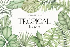 """Watercolor ClipArt """"Tropical Leaves"""" Product Image 1"""