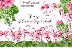 Tropical flamingo clipart - watercolor birds Product Image 1