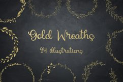 Gold Glitter Laurels Clipart, Laurel Wreaths, Glitter Wreath Product Image 1