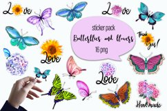 Butterflies and flowers watercolor - sticker pack Product Image 1