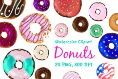 Watercolor Doughnuts Graphics - Donut Bakery Clipart Png Product Image 1