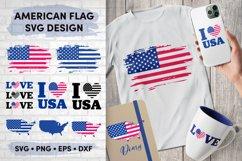 American Flag SVG Bundle, USA Map Flag Layered SVG, Love USA Product Image 1