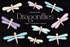 """Watercolor ClipArt """"Dragonflies"""" Product Image 1"""