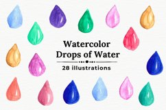 Watercolor water drops, Handpainted drops of water Product Image 1