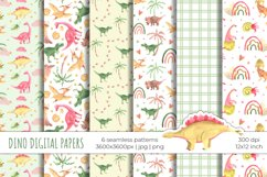 Watercolor dinosaurs digital paper / seamless patterns Product Image 1