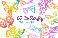 60 Butterfly SVG cut files - simple & split monogram Product Image 1