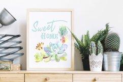 Succulent clipart / Watercolor succulent wreath / Floral png Product Image 2