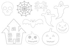 Halloween coloring. Halloween SVG. Spider. Pumpkin. Bat Product Image 2