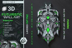 Futuristic Wall Sculpture 3D Layered SVG Cut File Product Image 1