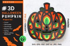 Halloween Pumpkin 3D Layered SVG Cut File Product Image 1