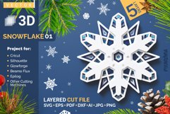 Snowflake 01 3D Layered SVG Cut File Product Image 1