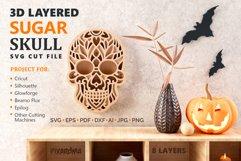 Sugar Skull 3D Layered SVG Cut File Product Image 1