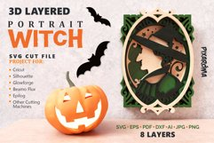 Witch Portrait Wall Art 3D Layered SVG Cut File Product Image 1