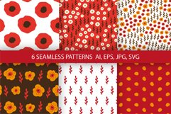 Flowers digital papers. 6 floral seamless patterns. Product Image 1