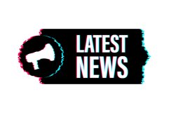 Megaphone label with latest news. Glitch icon. Product Image 1
