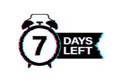 7 Days left. Glitch icon. Time icon. Countdown timer sign. Product Image 1