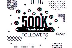 Thank you 500 000 followers numbers. Glitch style banner. Product Image 1