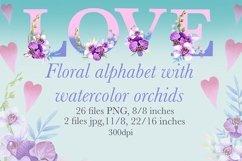 Watercolor monogram,Floral Alphabet, spring flowers Product Image 1