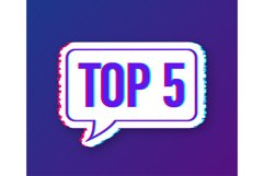 Top 5 - Top fifty vector colorful speech bubble. Product Image 1