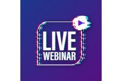 Live webinar label. Flat glitch illustration on white backgr Product Image 1