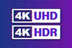 4K Ultra HD label. High technology. Glitch icon. Product Image 1