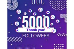 Thank you 5000 followers numbers. Glitch style banner. Product Image 1