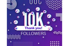 Thank you 10 000 followers numbers. Glitch style banner. Product Image 1