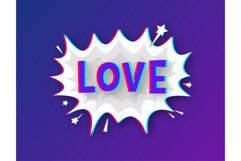 Comic speech bubbles with text Love. Glitch icon. Product Image 1