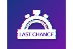 Last chance and last minute offer with clock signs banners, Product Image 1