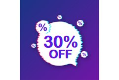 30 percent OFF Sale Discount Banner. Glitch icon. Product Image 1