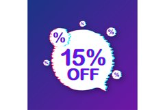 15 percent OFF Sale Discount Banner. Glitch icon. Product Image 1