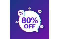 80 percent OFF Sale Discount Banner. Glitch icon. Product Image 1