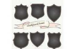 Chalkboard Frames Clipart Set, Black and Gold Frames Frames Product Image 1