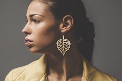 Leaf earrings, earrings svg bundle, earring template leather Product Image 4